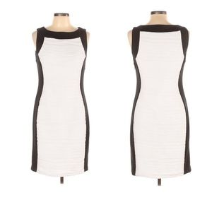 Calvin Klein Sleeveless Black and White Midi Dress